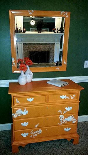 Dresser and Mirror with Floral Design $425.00